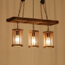 Industrial Island Pendant with Pillar 3 Lights Wood Island Pendant Light for Living Room