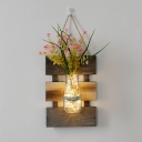 Rustic Style String Light with Flower and Bottle Clear Glass and Wood Sting Lamp for Bedroom Hallway