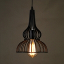 Black Gourd Pendant Lamp Single Light Antique Metal Hanging Light for Living Room