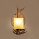 Single Light Antlers Wall Lamp Vintage Style Resin and Glass Sconce for Coffee Shop Restaurant