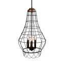 Candle Kitchen Chandelier with Wire Frame Metal 3 Lights Vintage Pendant Lamp in Black