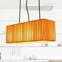 Bedroom Rectangular Shade Pendant Ceiling Lamp Bamboo Antique Style Beige Hanging Light