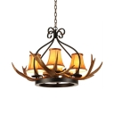 4/6/8 Lights Deer Horn Chandelier Rustic Style Resin Hanging Light in Beige for Dining Room