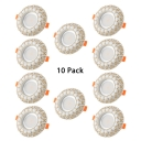 (10 Pack)Gold/Silver Recessed Light 2-4 Inch 3/5/7W Flush Mount Recessed for Kitchen Hallway Foyer in Warm/White