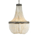 European Style Hanging Light with Beads 5 Lights Wood and Metal Chandelier Light for Foyer