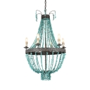 6 Lights Candle Chandelier with Turquoise Decoration Vintage Style Metal Hanging Lamp for Stair