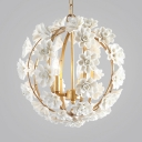 Vintage Style Globe Chandelier Light 3 Lights Metal Pendant Lighting with Flower Decoration in Gold