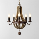Metal and Wood Candle Shape Chandelier Dining Room 5/6 Lights Antique Style Hanging Light