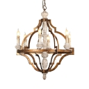 Candle Shape Dining Room Pendant Lamp Wood 6 Lights Vintage Style Chandelier Light