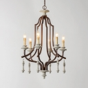 Candle Shape Hanging Light Fixture 6 Lights Rustic Style Metal and Wood Chandelier Light for Dining Room