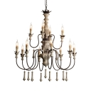 Wood and Metal Candle Chandelier Light 12 Lights Vintage Style Pendant Lighting for Dining Room