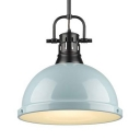 Seafoam Dome Pendant Light with Vented Socket 1 Light Modern Metal Hanging Light for Bedroom