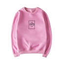 Simple Letter The 1975 Print LOng Sleeve Round Neck Pullover Sweatshirt