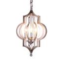 3 Lights Lantern Shape Chandelier Elegant Metal Suspension Light in Silver for Living Room Hote