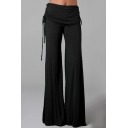 Womens Basic Simple Plain Drawstring Waist Lounge Baggy Wide-Leg Yoga Pants