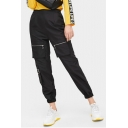 Womens Basic Solid Color Unique Zip Pocket Elasticized Cuff Black Track Pants