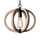 Melon Shape Pendant Light Wood Single Light Rustic Style Beige Hanging Lamp for Coffee Shop
