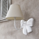 Metal Tapered Shade Wall Lamp with Bow Lamp Body Cafe 1 Light Traditional Sconce Light in Black/Off-white