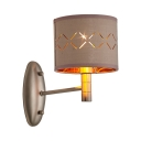 Drum Shade Wall Light Metal Single Light European Style Sconce Lamp for Dining Room Office