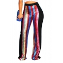 Women's Night Club Sexy Colorful Sequined Patchwork Floor Length Pants