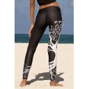 Womens Trendy Tree Leaf Printed Stretch Fit Yoga Leggings