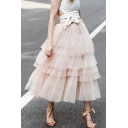Hot Popular Simple Plain Womens Maxi Flared Layered Mesh Gauze Skirt