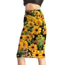 Summer Fashion Yellow Sunflower Floral Print Midi Pencil Skirt for Women