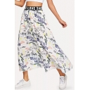 Womens Cool Street Style Letter Graffiti White Maxi A-Line Flowy Skirt
