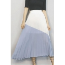 Summer New Fancy Colorblock Patchwork Maxi Pleated Chiffon Skirt