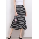 Classic Black Striped Printed High Rise Midi Fishtail Skirt with Pocket