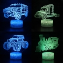 4 Car Pattern Design 3D Bedside Lamp 7 Color Touch Sensor LED Night Lamp with Remote Controller for Gifts