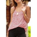 Summer Comfort Casual Loose Scoop Neck Sleeveless Fashion Polka Dot Print Tank Top