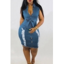 New Trendy Distressed Ripped Lapel Collar Sleeveless Bow-Tied Waist Button Down Bodycon Denim Dress