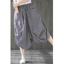 Fashion Black Vertical Stripe Printed Linen Midi Bubble Skirt