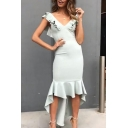 Women's Hot Fashion Sexy V-Neck Ruffled High Low Hem Plain Bodycon Fishtail Evening Dress