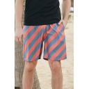 Mens Summer New Stylish Striped Printed Drawstring Waist Quick Dry Surfing Swim Shorts