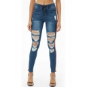 Women's Trendy Stripe Side Drawstring Waist Slim Fit Blue Ripped Jeans