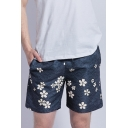 Simple Chic Floral Printed Mens Quick Drying Surfing Swim Trunks with Liner