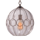 Globe Shape Pendant Light 1 Light Traditional Clear/White Glass Ceiling Light for Bedroom Foyer