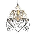 Metal Wire Frame Light Fixture 1 Light Antique Style Pendant Light in Gold for Living Room Bar