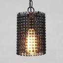 Classic Cylinder Shade Hanging Light 2 Size Option Metal 1 Light Black Light Fixture for Bedroom Living Room