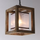 1 Light Square Ceiling Light Rustic Style Beige Wood Light Fixture for Living Room Balcony