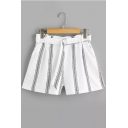 Summer Trendy White Stripe Printed Belted Waist Chiffon Loose Shorts