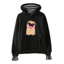 New Trendy Cute Cartoon Pug Dog Striped Inside Long Sleeve Pullover Hoodie