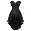 Women's Vintage Gothic Steampunk Luxury Jacquard Bow Tied Bodyshaper Corset High Low Hem Ruffled Bustier Dress