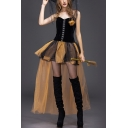 New Fashion Womens Halloween Witch Cosplay Costume Black Corset Top Yellow Mini Mesh Dress