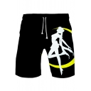 Sailor Moon Comic Girl Printed Drawstring Waist Summer Casual Black Athletic Shorts