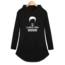 Popular Letter I Love You 3000 Figure Pattern Long Sleeve Hooded Dress