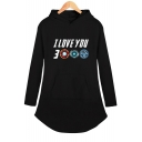 Popular Unique Letter I Love You 3000 Long Sleeve Shift Hooded Dress