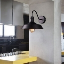 Metal Barn Wall Light 2 Pack 1 Light Vintage Style Industrial Sconce Light in Black for Kitchen